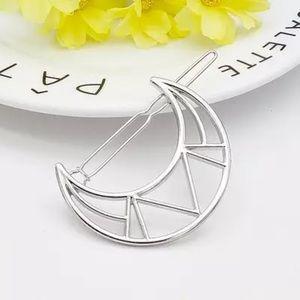 Dainty Silver Moon Hair Pin